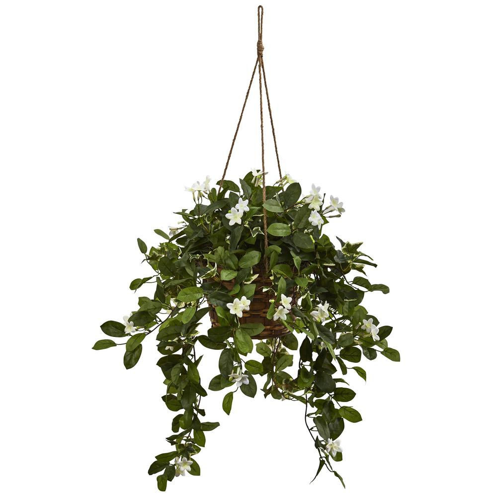 Nearly Natural Mixed Stephanotis Hanging Basket