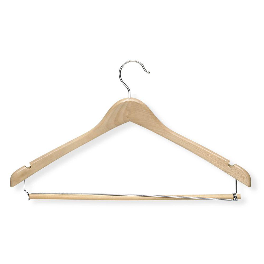 Honey Can Do Wooden Maple Finish Contoured Suit Hanger With Locking Bar 3