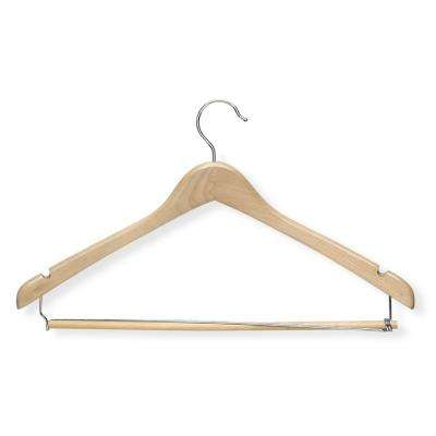 Wooden Maple Finish Contoured Suit Hanger with Locking Bar (3-Pack)