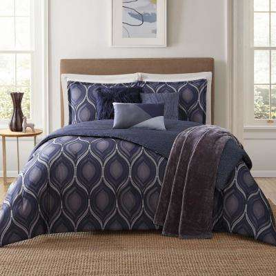 Basti 7-Piece Blue King Comforter Set