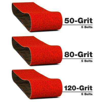 3 in. x 18 in. Belt - Assortment (50, 80 and 120 Grit) (15-Pack)