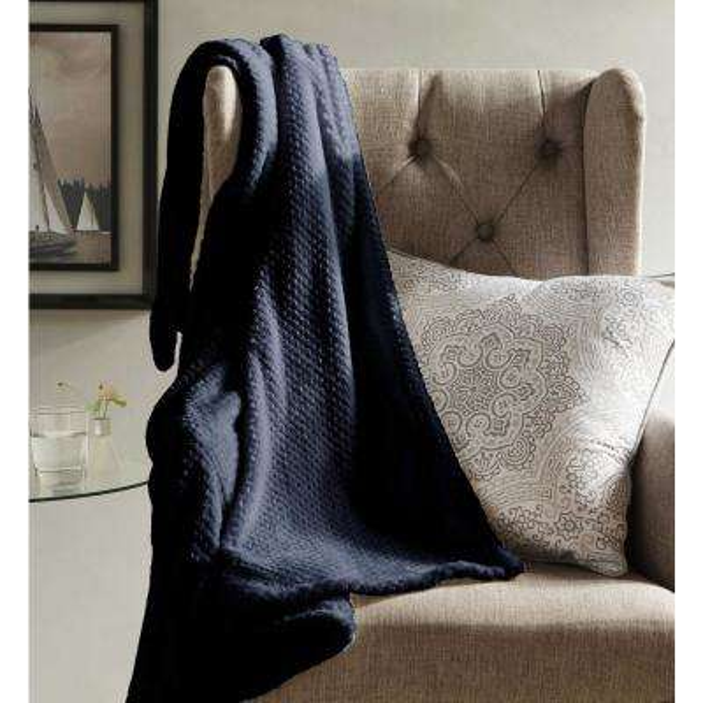Myrcella Midnight Blue Textured Fleece Throw