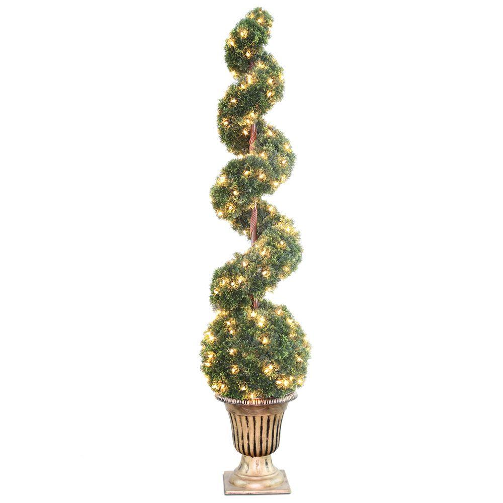 66 in. Clear Spiral Tree with Ball in Black and Gold