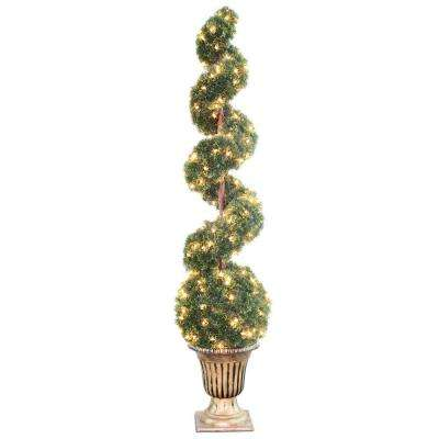 66 in. Clear Spiral Tree with Ball in Black and Gold Urn with 200 Clear Lights