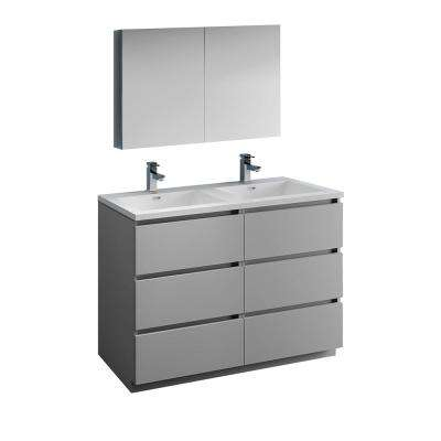 Lazzaro 48 in. Modern Double Bathroom Vanity in Gray with Vanity Top in White with White Basins and Medicine Cabinet