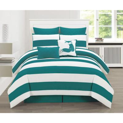 Delia Stripe Teal Printed Full Duvet Set