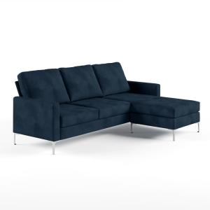 Swell Novogratz Chapman Blue Velvet Sectional Sofa With Chrome Onthecornerstone Fun Painted Chair Ideas Images Onthecornerstoneorg