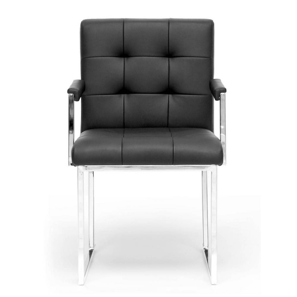 Baxton Studio Collins Black Faux Leather Upholstered Chair