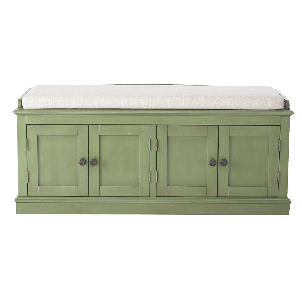 Laughlin Antique Green Storage Bench