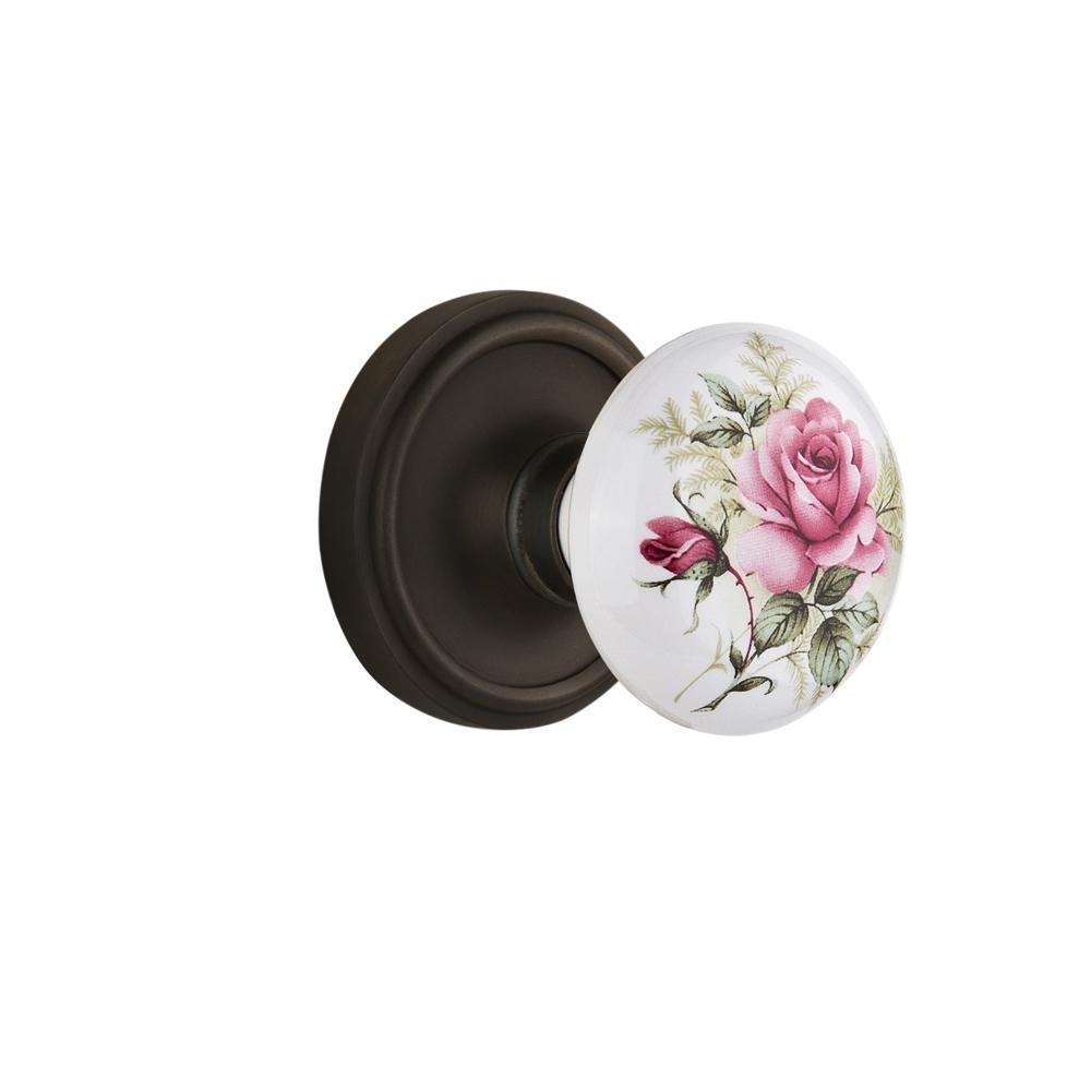 Classic Rosette 2-3/8 in. Backset Oil-Rubbed Bronze Privacy White Rose Porcelain Door Knob