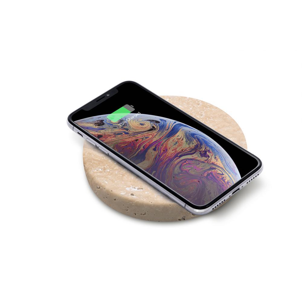 10-Watt Wireless Phone Charger in Travertine Stone