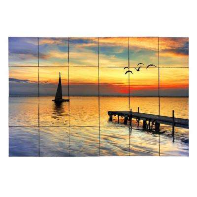 Sailboat 36 in. x 24 in. Tumbled Marble Tiles (6 sq. ft. /case)