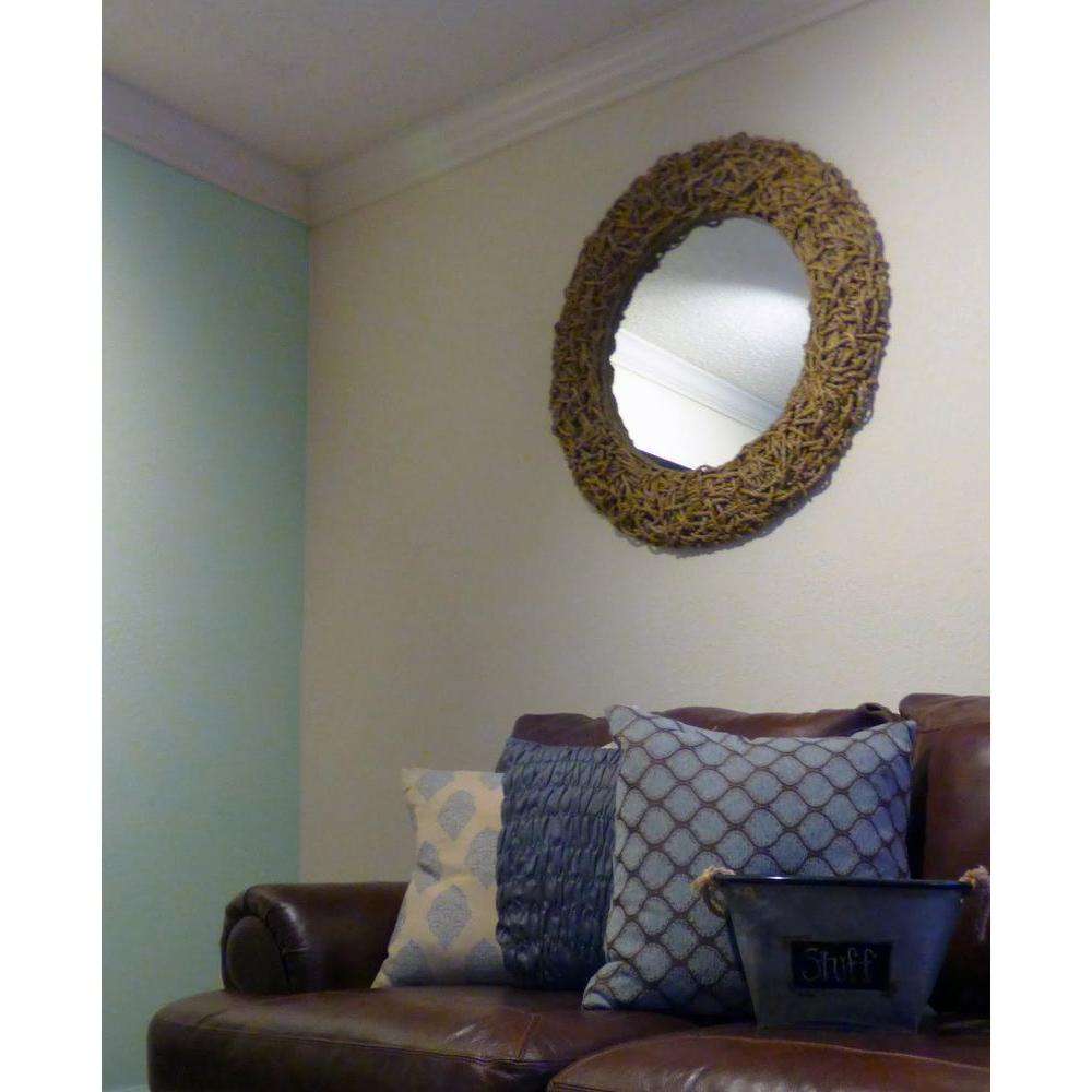 null Seagrass 33 in. x 33 in. Round Natural Rope Wall Mirror