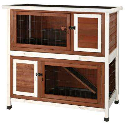 3.75 ft. x 2 ft. x 3.5 ft. Medium 2-Story Rabbit Hutch in Brown/White