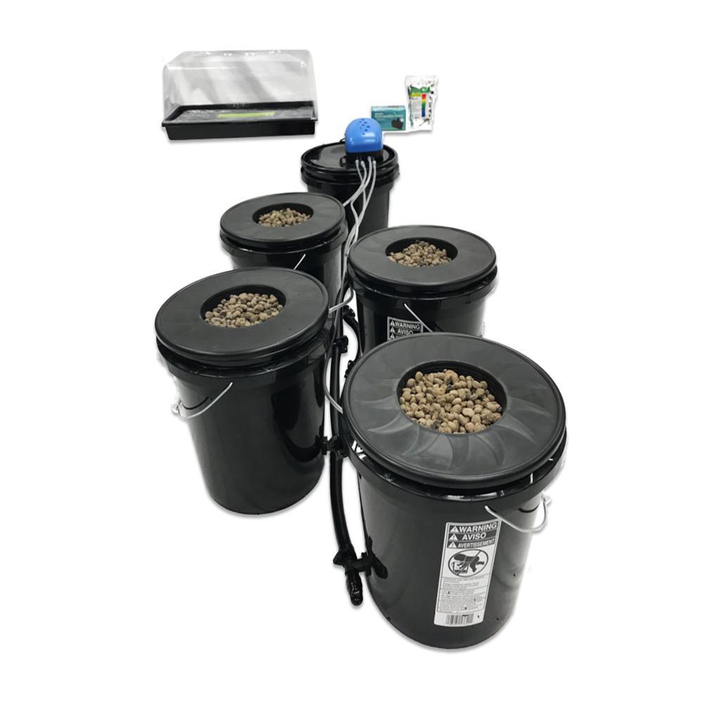 Recirculating Deep Water Culture (DWC) 4-Bucket Hydroponic System Kit