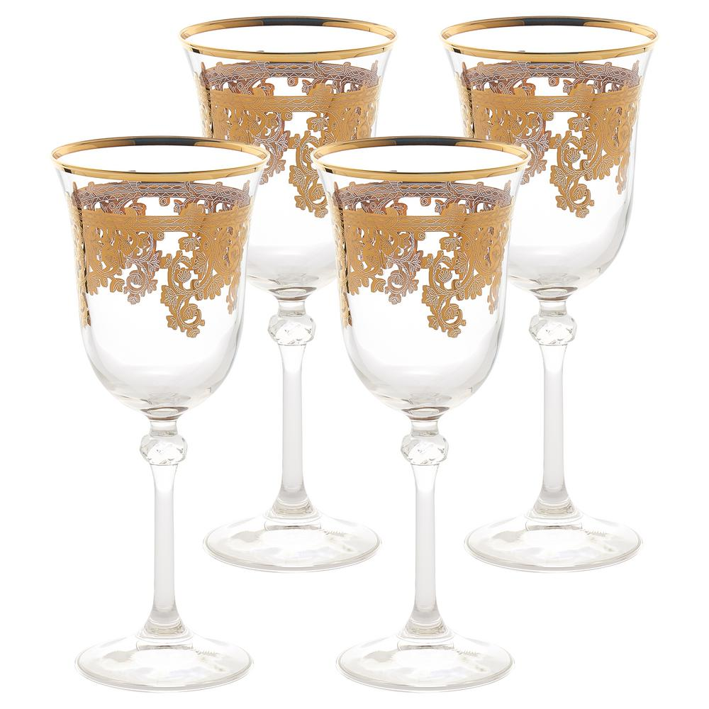Embellished 24K Gold Crystal Red Wine Goblets Made in Italy (Set
