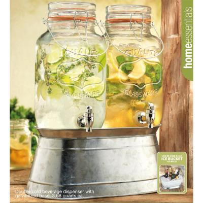 1 Gal. Hammered Twin Dispenser with Galvanized Base