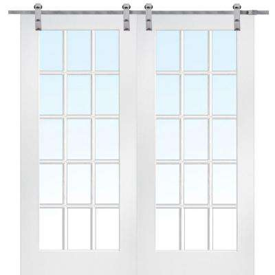 72 in. x 80 in. Primed 15-Lite Double Door with Barn Door Hardware Kit