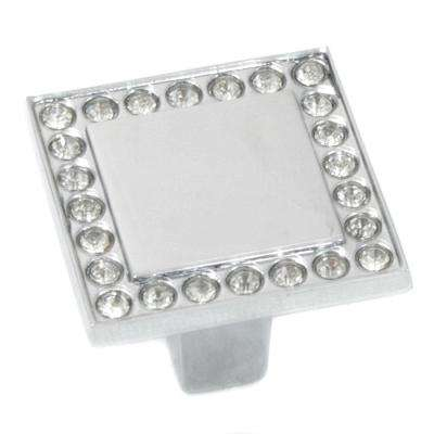 Bellagio 1-3/8 in. Polished Chrome/Crystal Cabinet Knob