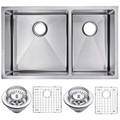 Undermount Stainless Steel 32 in. Double Bowl Kitchen Sink with Strainer and Grid in Satin