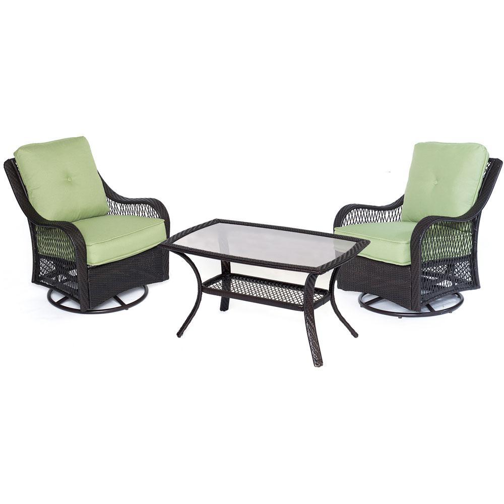 Hanover Orleans 3-Piece Aluminum Patio Outdoor Bistro Set with Avocado Green Cushions