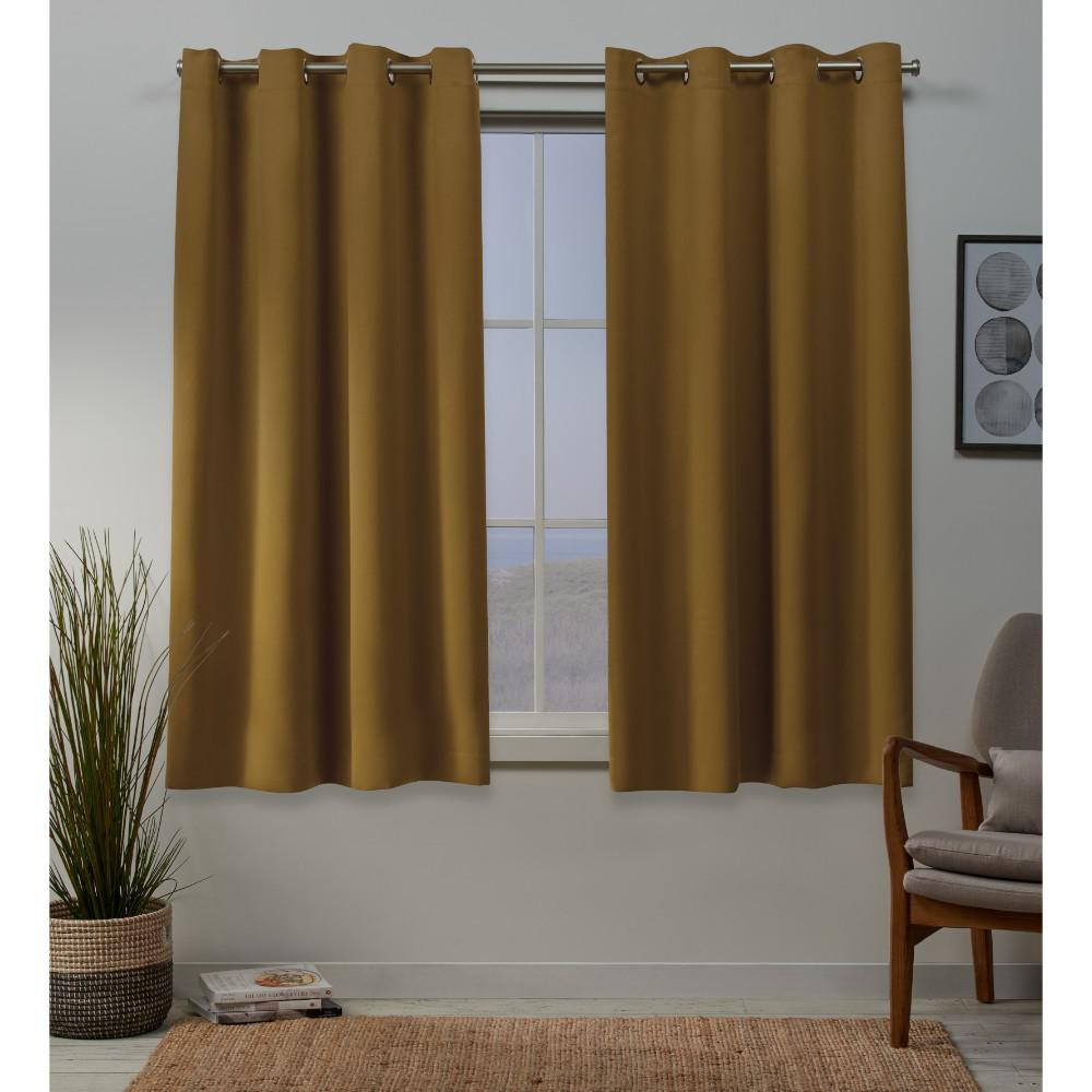 Exclusive Home Curtains Sateen 52 in. W x 63 in. L Woven Blackout Grommet Top Curtain Panel in Honey Gold (2 Panels)