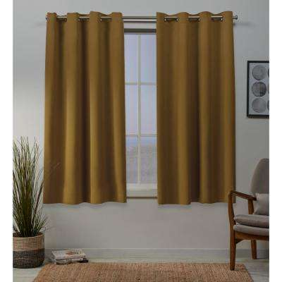 Sateen 52 in. W x 63 in. L Woven Blackout Grommet Top Curtain Panel in Honey Gold (2 Panels)