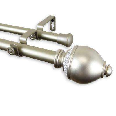 48 in. - 84 in. Telescoping 1 in. Double Curtain Rod Kit in Light Gold with Ramona Finial
