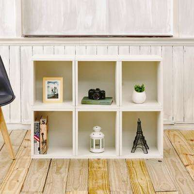 Valencia 6 Cubes zBoard  Stackable Modular Storage Cubby Organizer, Tool-Free Assembly Storage in Pearl White
