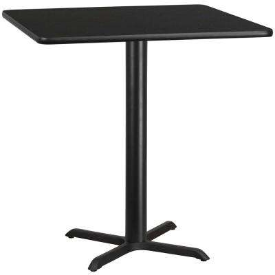 42 in. Square Black Laminate Table Top with 33 in. x 33 in. Table Height Base