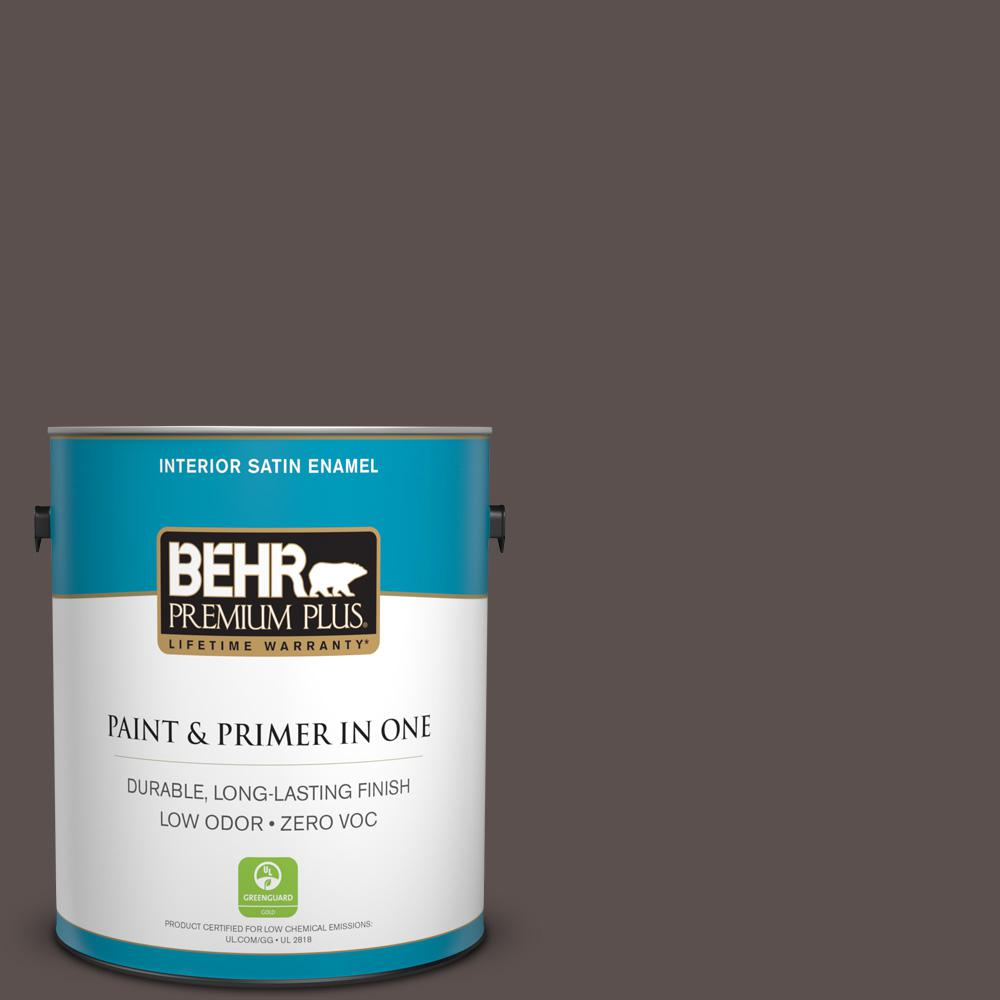 BEHR Premium Plus 1-gal. #ECC-12-3 Shadow Wood Zero VOC Satin Enamel Interior Paint