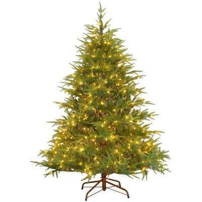 6-1/2 ft. Feel-Real Fraser Grande Hinged Artificial Christmas Tree with 550 Clear Lights