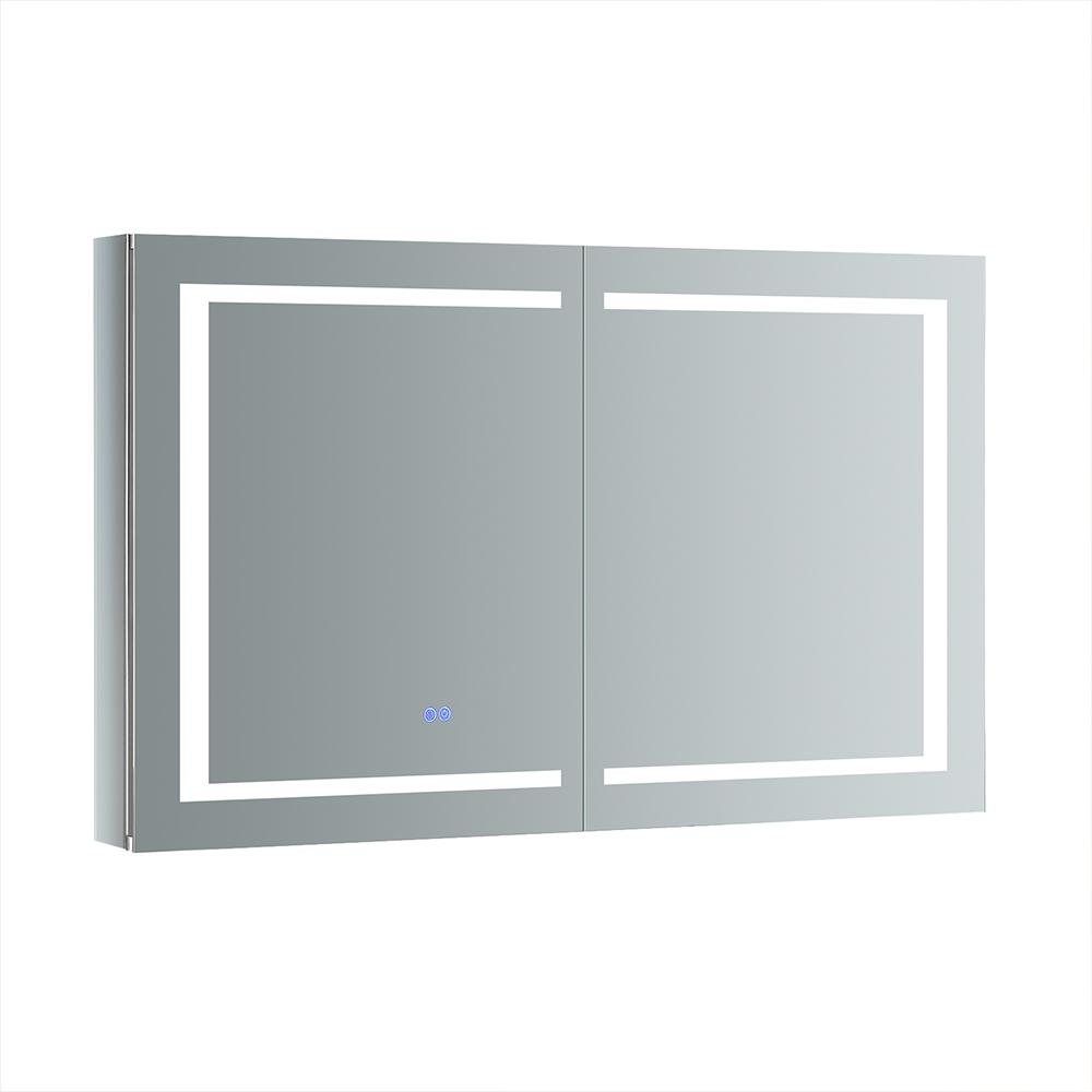 Fresca Spazio 48 in. W x 30 in. H Recessed or Surface Mount Medicine Cabinet with LED Lighting and Mirror Defogger