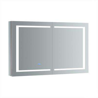 Spazio 48 in. W x 30 in. H Recessed or Surface Mount Medicine Cabinet with LED Lighting and Mirror Defogger