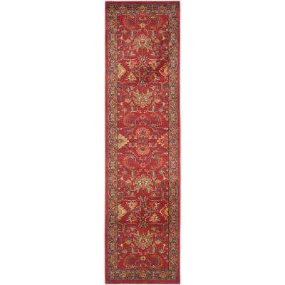 Mahal Red/Navy 2 ft. 2 in. x 18 ft. Runner Rug