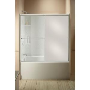 Sterling Standard 59 inch x 56-7/16 inch Framed Sliding Tub and Shower Door in Silver with Handle by STERLING