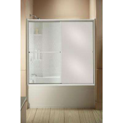 Standard 59 in. x 56-7/16 in. Framed Sliding Tub and Shower Door in Silver with Handle