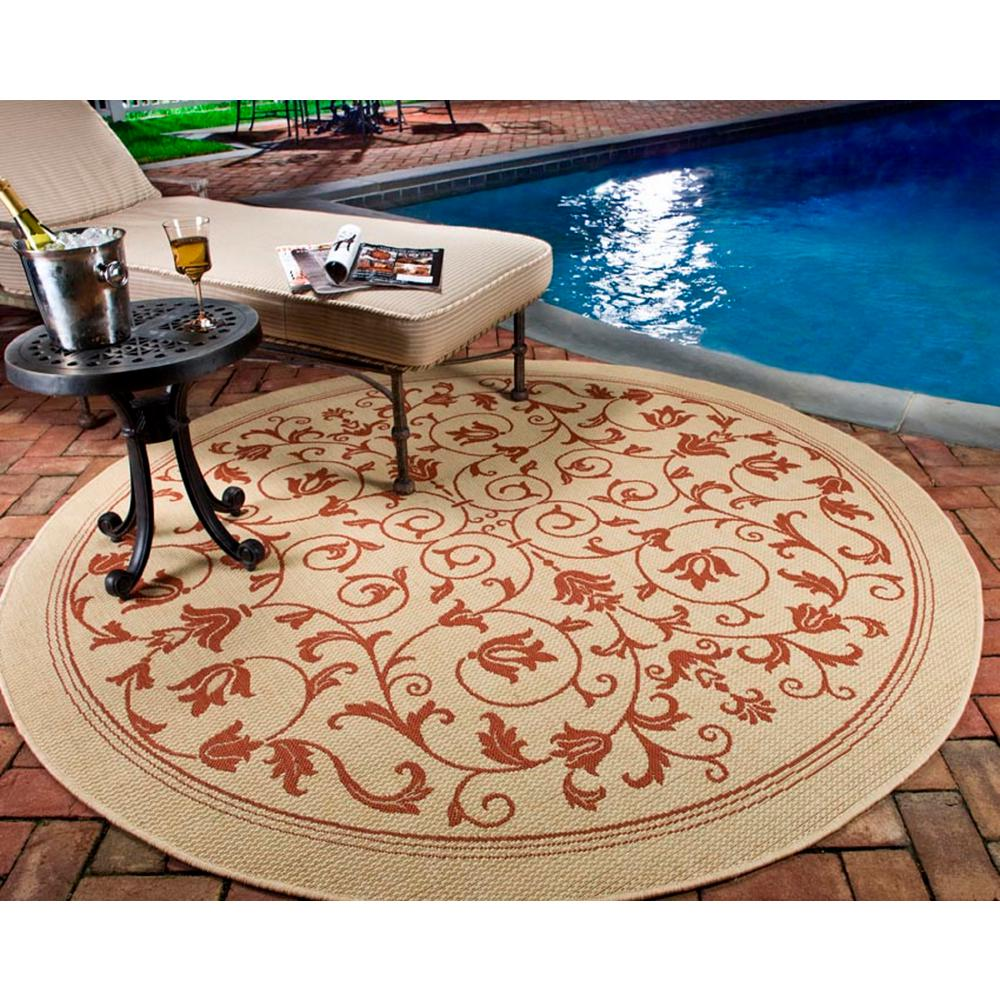 Courtyard Natural/Terracotta 6 ft. 7 in. x 6 ft. 7 in.
