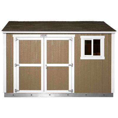 Installed Tahoe 10 ft. x 12 ft. x 8 ft. 10 in. Painted Wood Storage Shed with Shingles with Sidewall Double Door