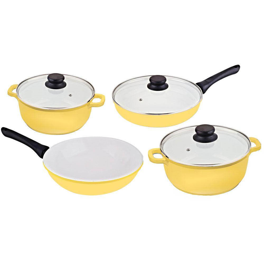 Vinaroz 7-Piece Die Cast Aluminum Cookware Set with Ceramic Non-Stick Coating in Yellow