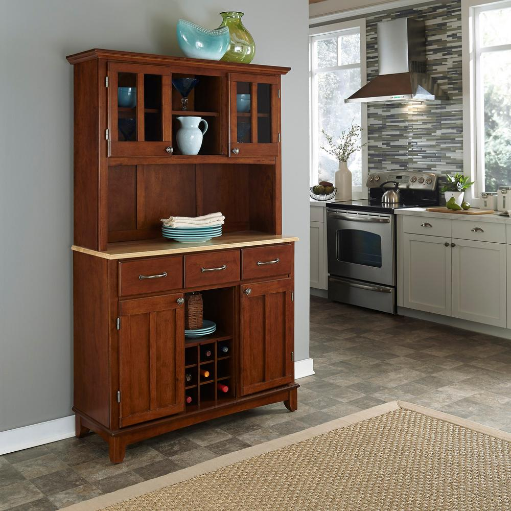 Home Styles Cherry Buffet with Hutch