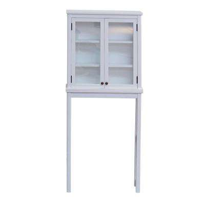Dorset 27 in. W x 9 in. D x 66 in. H Over the Toilet Space Saver Storage with Glass Doors in White