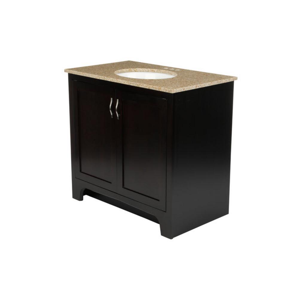36 in. x 21 in. x 33-1/2 in. 2-Door Vanity in Espresso with Golden Sand Granite Vanity Top with White Basin