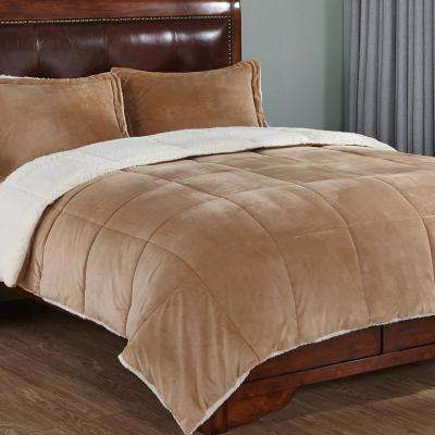 Reversible Sherpa Gold King Down Alternative Comforter Set