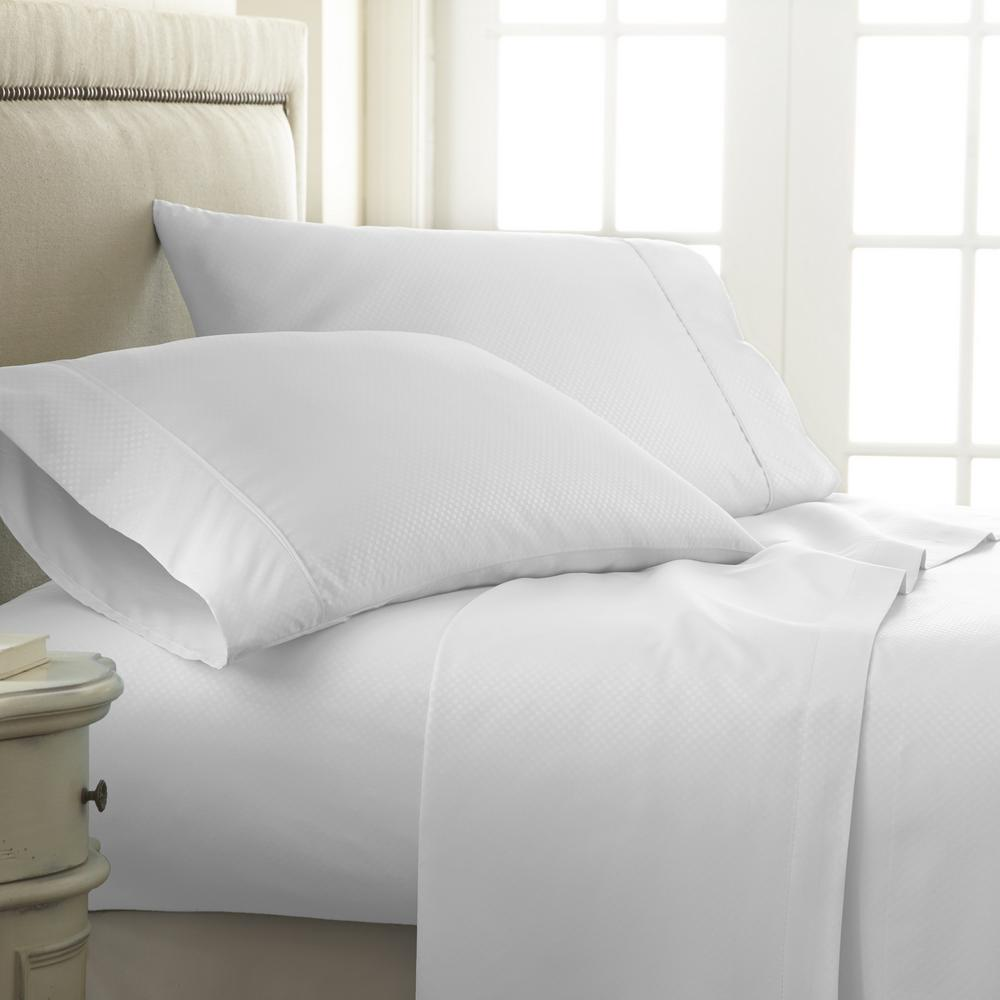 Captivating Becky Cameron Embossed Checkered White Queen Performance 4 Piece Bed Sheet  Set