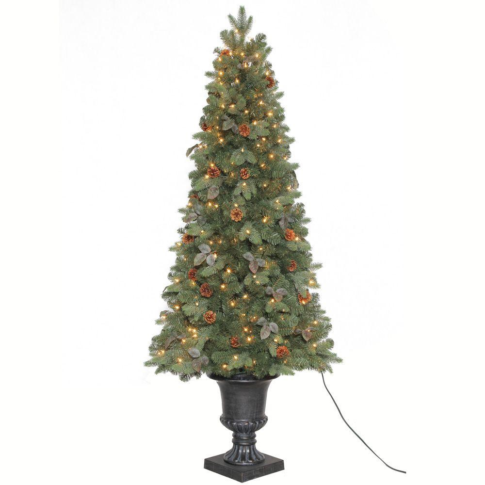 Home Accents Holiday 6.5 ft. Greenland Potted Artificial Christmas ...