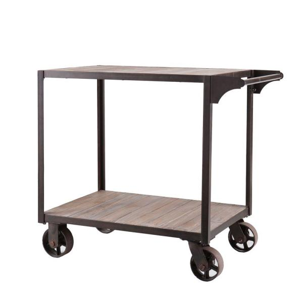 Southern Enterprises Carlisle Industrial Bar Cart in Aged Black with Aged