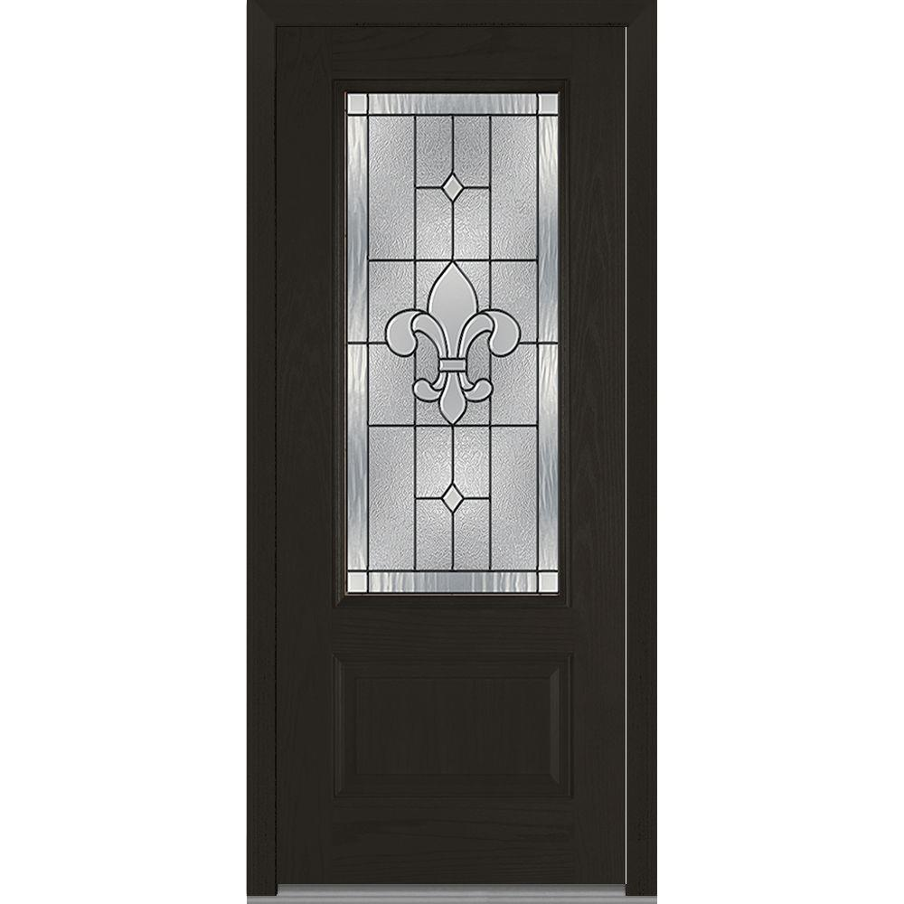 36 in. x 80 in. Carrollton Left-Hand Inswing 3/4-Lite Decorative 1-Panel