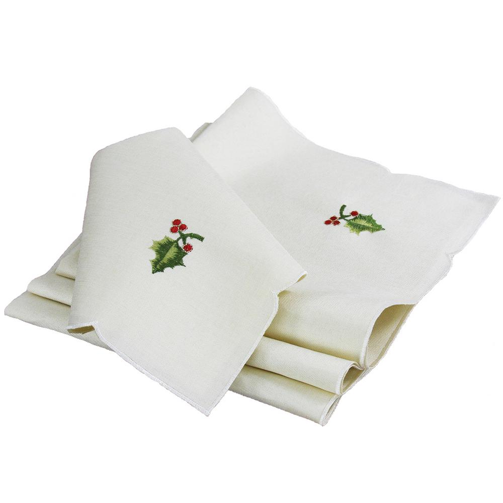 Christmas Napkins.Xia Home Fashions 0 1 In X 21 In X 21 In Winter Berry Collection Christmas Napkins 4 Set
