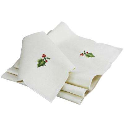 0.1 in. x 21 in. x 21 in. Winter Berry Collection Christmas Napkins (4-Set)